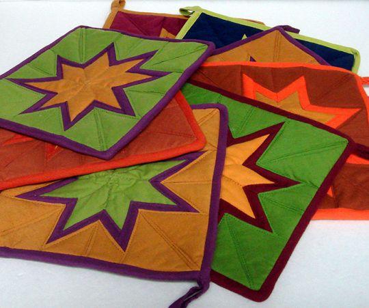 fair trade star quilt pot holder